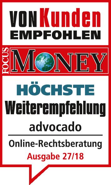 Focus Money von Kunden empfohlen advocado - Höchste Weiteremfehlung - advocado Online Rechtsberatung Ausgabe 27/18